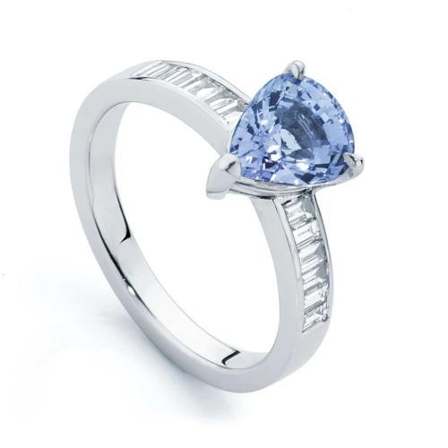 Pear Side Stones Dress Ring White Gold   Azure