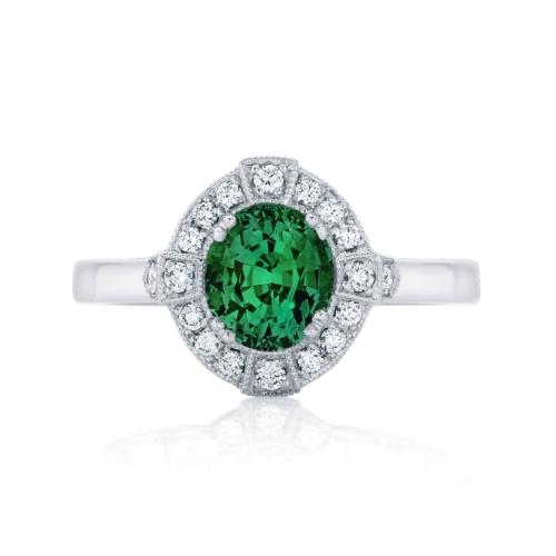 Oval Halo Engagement Ring Platinum | Belle Botanica