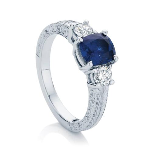 Cushion Engraved Dress Ring Platinum | Bluebell (Engraved)