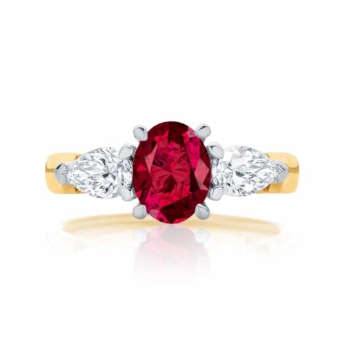 Oval Ruby Three Stone Dress Ring Yellow Gold   Delta Trio Cerise