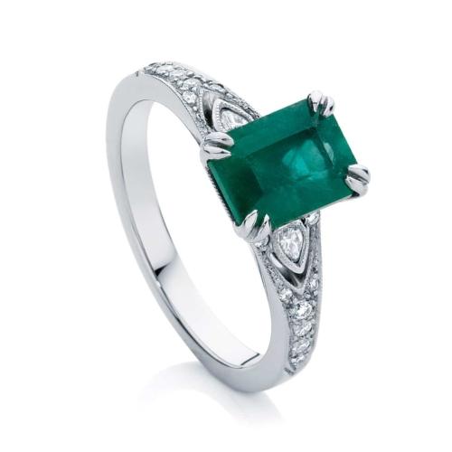 Emerald Side Stones Dress Ring Platinum | Eve