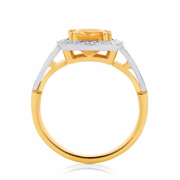Cushion Halo Dress Ring Yellow Gold | Evening Light