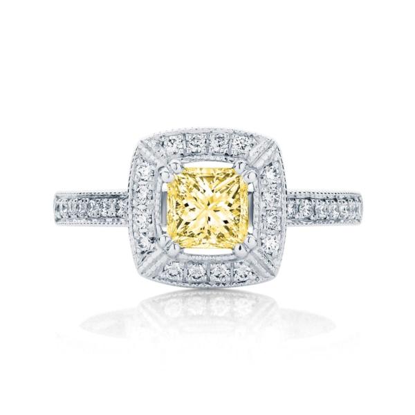 Princess Halo Dress Ring White Gold   Honour (Fancy Yellow)
