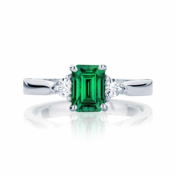 Emerald Three Stone Engagement Ring Platinum | Luna Botanica