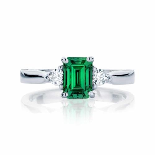Emerald Three Stone Engagement Ring White Gold   Luna Botanica