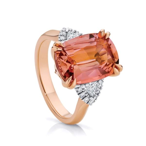 Cushion Garnet Dress Ring Rose Gold | Malaya