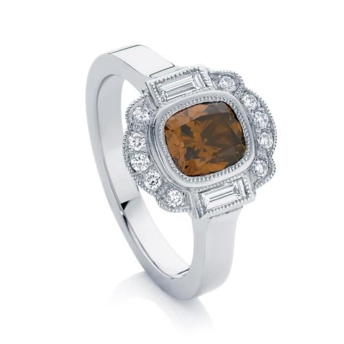 Cushion Halo Dress Ring Platinum   Messina