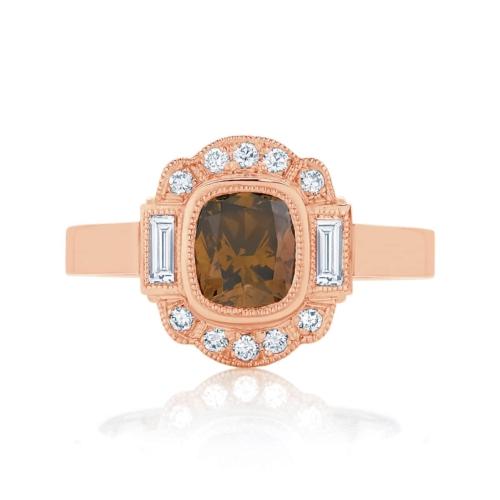 Cushion Vintage Dress Ring Rose Gold | Messina