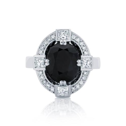 Oval Halo Dress Ring Platinum | Midnight Sky
