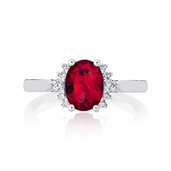 Ruby Side Stones Engagement Ring Platinum | Nouvelle Lune Cerise
