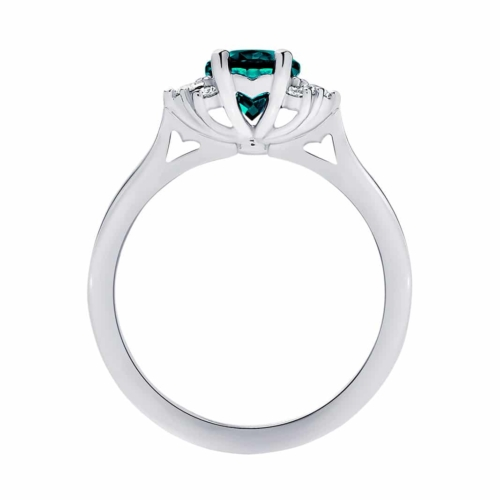 Oval Side Stones Dress Ring White Gold | Nouvelle Lune