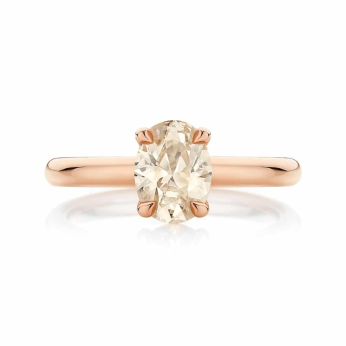 Champagne Diamond Solitaire Dress Ring Rose Gold   Osirus Champagne
