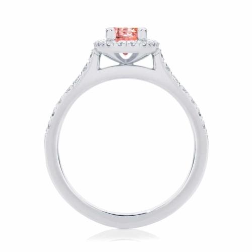 Oval Halo Dress Ring Platinum | Peach Rosetta