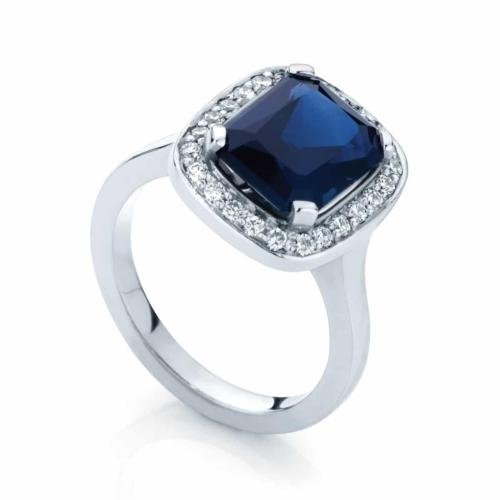 Emerald Halo Dress Ring White Gold   Regal
