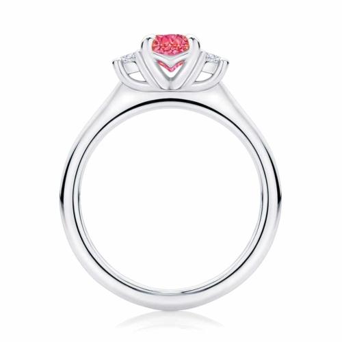 Oval Three Stone Dress Ring White Gold | Rose Trio