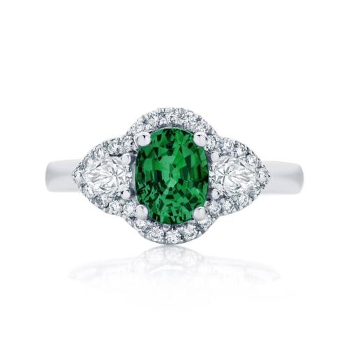Emerald Three Stone Engagement Ring Platinum | Rosetta Trio Botanica
