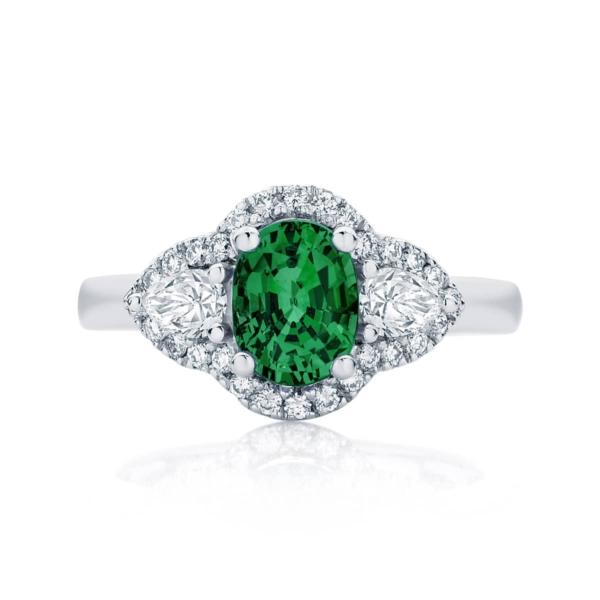 Emerald Three Stone Dress Ring White Gold   Rosetta Trio Botanica