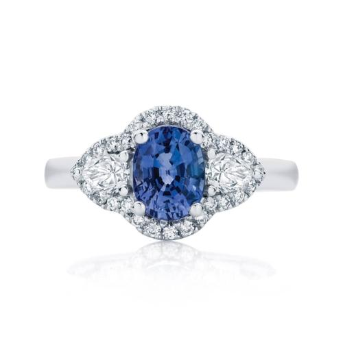 Oval Three Stone Dress Ring Platinum | Rosetta Trio