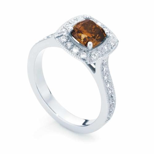 Cushion Halo Dress Ring White Gold   Serenity (Cognac)