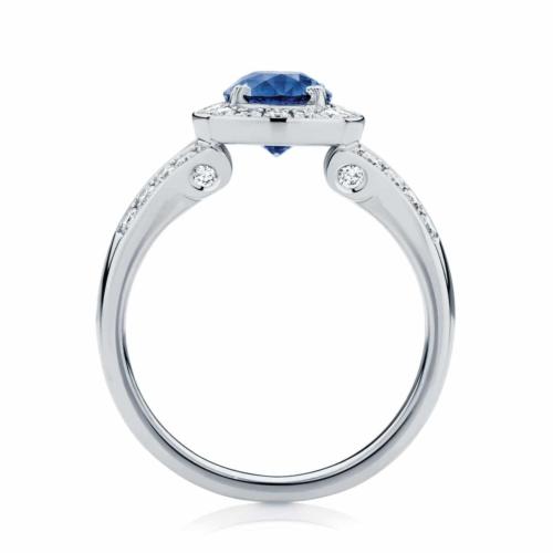 Oval Halo Dress Ring White Gold   Sky (Oval)