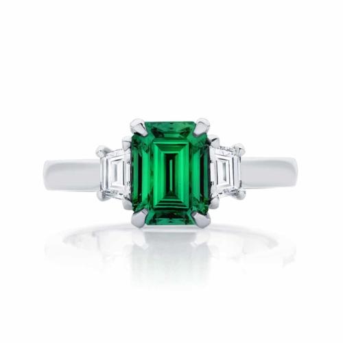 Emerald Three Stone Engagement Ring Platinum   Soiree Botanica