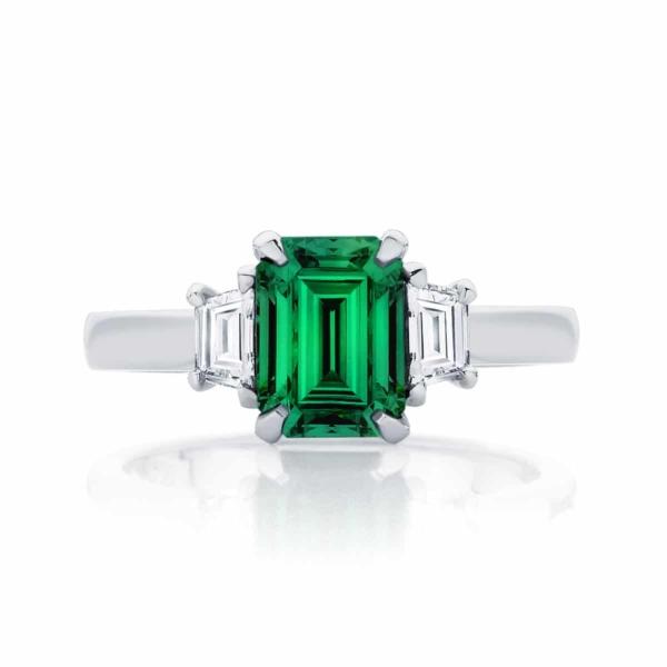 Emerald Three Stone Engagement Ring Platinum | Soiree Botanica