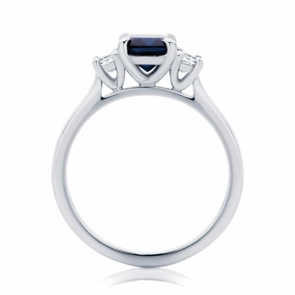 Emerald Three Stone Dress Ring White Gold   Soiree