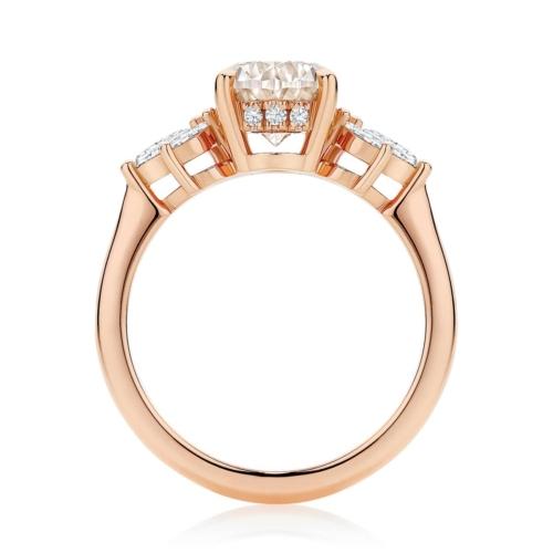 Champagne Diamond Dress Ring Rose Gold | Lyra Champagne