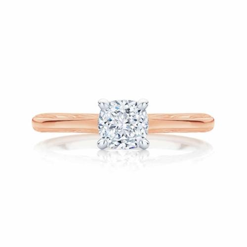 Cushion Cut Diamond Engagement Ring Rose Gold | Turin
