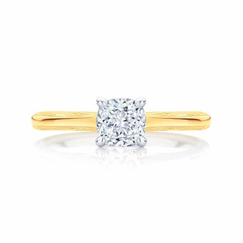 Cushion Cut Diamond Engagement Ring Yellow Gold   Turin
