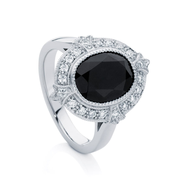 Oval Halo Dress Ring White Gold   Venezia